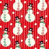Muñecos de nieve sonrientes rojos y blancos del vector con los sombreros, con el fondo inconsútil linear del modelo de las bolas  libre illustration