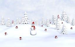 Muñecos de nieve y regalos Imagen de archivo