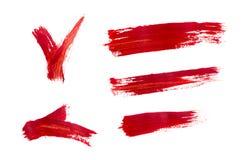 Muśnięć uderzenia z czerwonymi akrylowymi farbami Obraz Royalty Free