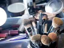 Muśnięcia dla makeup, kosmetyk, profesjonalistów narzędzia piękno Fotografia Stock