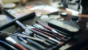 Muśnięcia i oka cienia makeup narzędzia zdjęcie wideo