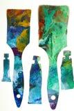 Muśnięcia i tubki malujący jako sztuki praca.  Zdjęcia Stock