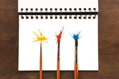 Muśnięcia w farbie i pluśnięcia na papierze Zdjęcia Stock