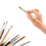 Muśnięcia w ręce odizolowywającej na bielu Fotografia Stock