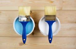 Muśnięcie i farba na drewnianych deskach Fotografia Stock