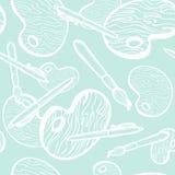 Muśnięcie i paleta ilustraci tylna szkoła Bezszwowy tekstury tło z piórem Doodle elementy Ręka rysujący nakreślenie ilustracji