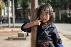Mu Cang Cai,越南2014年9月-12 -居住i的hilltribe女孩 免版税库存图片