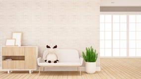 Mu?eca del reno en el sof? en la sala de estar - dise?o interior para las ilustraciones - representaci?n 3d libre illustration