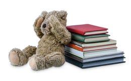 Mu?eca linda del oso marr?n con muchos libros aislados en el fondo blanco fotografía de archivo