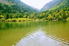 Wooden measure. Mu Ge (full name: Kangding love song Mu Ge scenic area), is located in the middle of the Gongga mountains, from Sichuan, Kangding, the royalty free stock photo