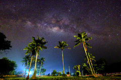 Muadzam Milkyway. Beautiful milkyway in the early morning  over coconut tree at Muadzam Shah, Pahang, Malaysia & x28; Image  contains excessive noise, film grain Royalty Free Stock Photography