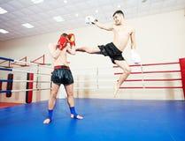 Muai thai fighting technique Stock Images