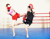 Muai thai fighting women Stock Photography