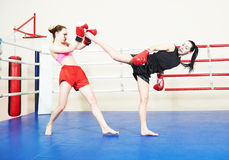 Muai thai fighting women Stock Photos