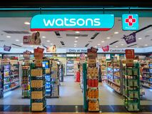 Muang Nakhonratchasima /Thailand - Maj 10, 2018: Watsons lager Royaltyfria Bilder
