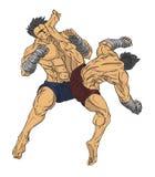 muay тайское Вектор и иллюстрация боевых искусств Стоковое Изображение RF