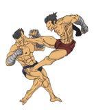 muay тайское Вектор и иллюстрация боевых искусств Стоковые Фотографии RF