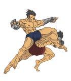 muay тайское Вектор и иллюстрация боевых искусств Стоковые Изображения