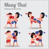 Muay het Thaise, Thaise In dozen doen, het vechten kunst van Thai, in beeldverhaal acteren pos vector illustratie
