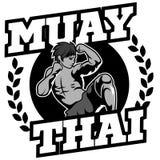 Muay Tajlandzki wektorowy logo dla bokserskiego gym lub inny Zdjęcia Royalty Free
