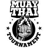 Muay Tajlandzki wektorowy logo dla bokserskiego gym lub inny Fotografia Royalty Free