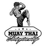 Muay Tajlandzki wektorowy logo dla bokserskiego gym lub inny Obrazy Royalty Free