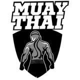 Muay Tajlandzki wektorowy logo dla bokserskiego gym lub inny Obraz Royalty Free