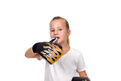 Muay thai boxing girl. Teeth unbuttoned glove Royalty Free Stock Images