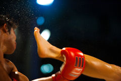 Muay Thai Boxing Kick Sweat Flying Stock Images