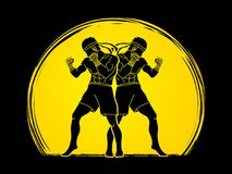 Muay Thai, Thai boxing standing ready to fight action graphic vector. Muay Thai, Thai boxing standing ready to fight action illustration graphic vector Royalty Free Stock Image