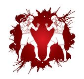 Muay Thai, Thai boxing standing ready to fight action  graphic vector. Muay Thai, Thai boxing standing ready to fight action  illustration graphic vector Stock Photos