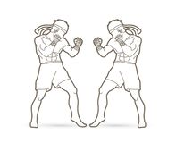 Muay Thai, Thai boxing standing ready to fight action  graphic vector. Muay Thai, Thai boxing standing ready to fight action  illustration graphic vector Stock Photo