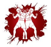 Muay Thai, Thai Boxing standing together graphic vector. Muay Thai, Thai Boxing standing together illustration graphic vector Royalty Free Stock Images