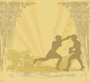 Muay Thai (combat martial art from Thailand) - Kickboxing. Grunge background vector illustration
