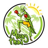 Muay thai emblem Royalty Free Stock Images