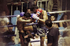 Muay Thai fight royalty free stock photo