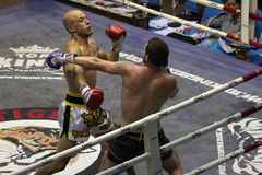 Muay Thai fight. Muay Thai competition at Bangla Boxing Stadium in Patong, Phuket, Thailand Stock Image