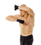 Muay thai fighter hitting with elbow Stock Photography