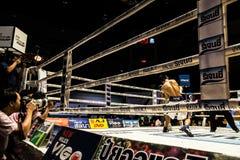 Muay Thai fighter. Indoor boxing stadium at Thailand Stock Photo