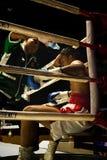 Muay Thai fighter. Indoor boxing stadium at Thailand Stock Photos