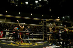 Muay Thai fighter. Indoor boxing stadium at Thailand Royalty Free Stock Image