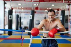 Muay thai fighter resting in the ring Stock Photography