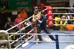 Muay Thai fighters compete in a Thai boxing match Royalty Free Stock Photography