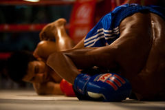Muay Thai Fighters Fall Down Royalty Free Stock Photos