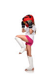 Muay thai girl fighting. Muay thai boxing girl fighting with gloves Royalty Free Stock Photography