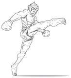 Muay Thai: hoogteschop Stock Afbeelding