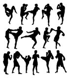 Muay Thai Or Kickboxing Silhouettes Royalty Free Stock Image