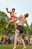 Muay Thai in Parramatta. PARRAMATTA,AUSTRALIA - NOVEMBER 22,2014: Two fighters demonstrate the martial art of Muay Thai at a festival celebrating Thai culture Stock Photography