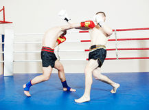 Muay thai sportsman fighting at boxing ring Stock Photos