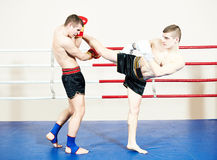 Muay thai sportsman fighting at boxing ring Royalty Free Stock Photos